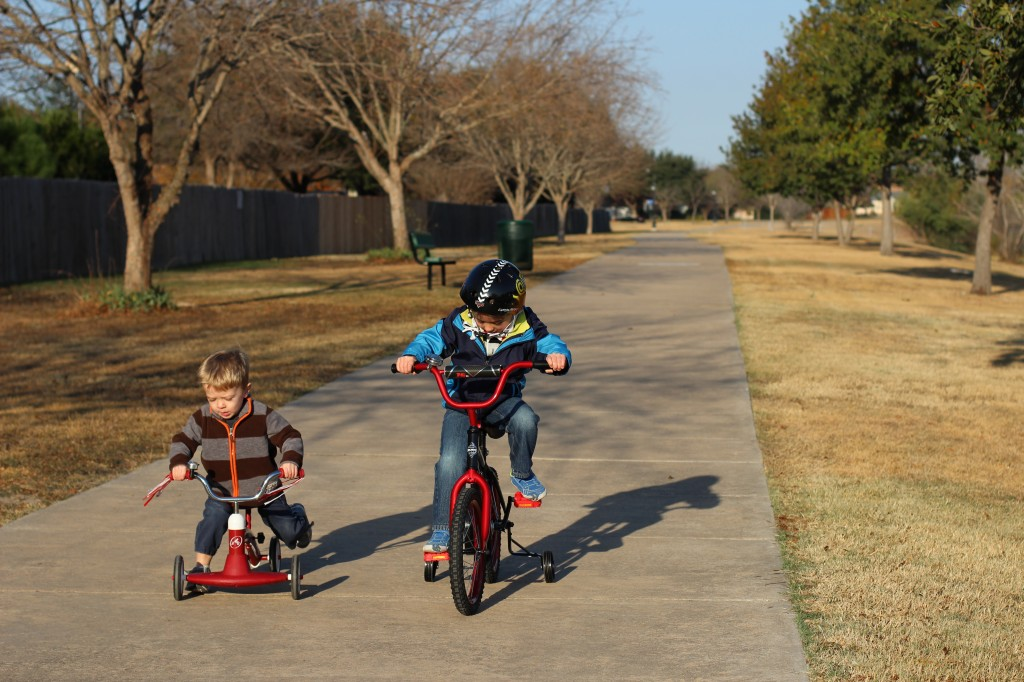(James is already a pro on four wheels.)