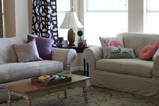 Walking with Cake: Slipcovered couches