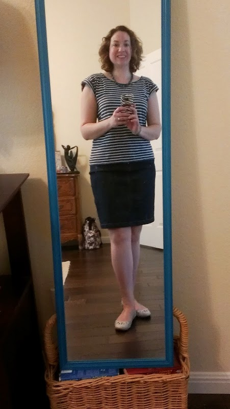 Walking with Cake: stripes and skirt
