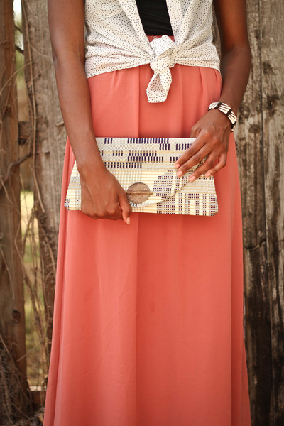 Walking with Cake: Navy and Gold Circuit Clutch by Market Traders