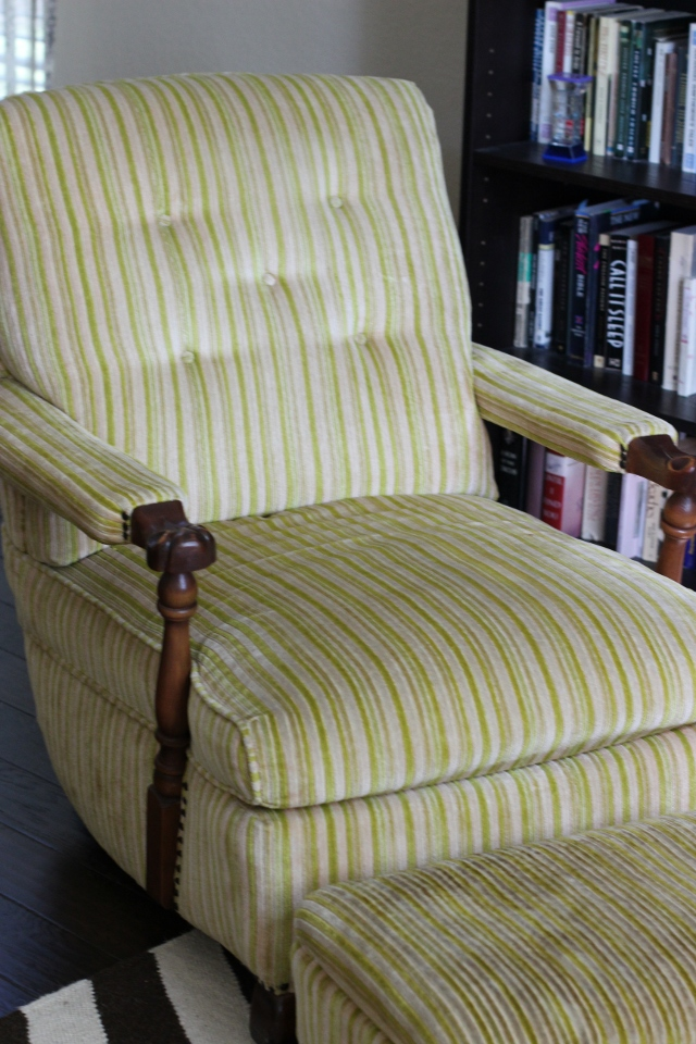 Walking with Cake: Striped chair and ottoman