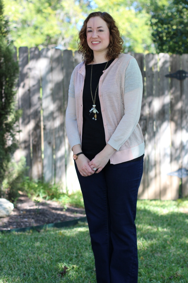 Walking with Cake: Loft's Lace Trim Colorblocked Cardigan