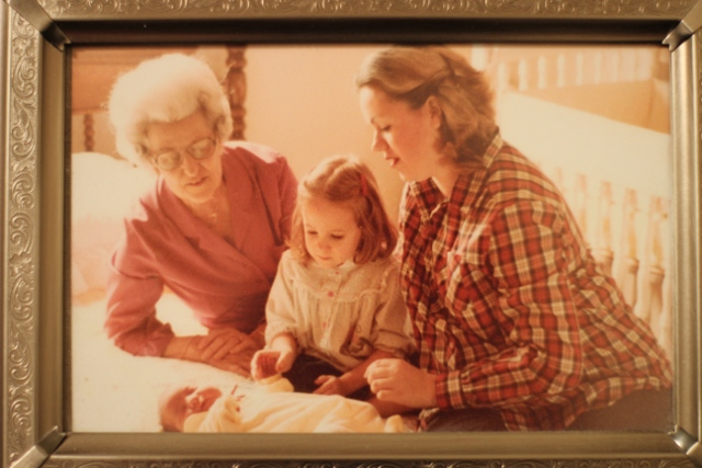 Walking with Cake: My grandmother, mother, newborn sister, and me