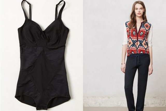 Walking with Cake: Resultwear by DMondaine Solid Shapewear One-Piece and Sundry Romi Loungers, via Anthropologie