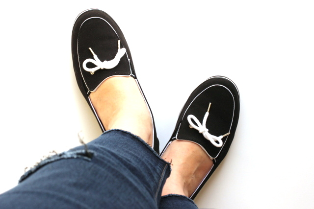 Walking with Cake: Black boat shoes