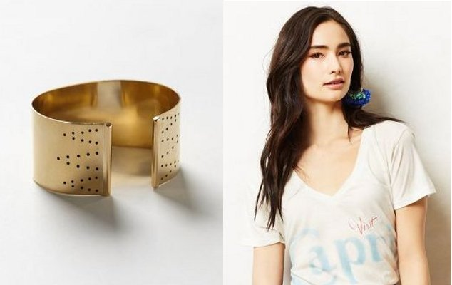 Walking with Cake: Sahara Cuff by Winifred Grace; Visit Capri Tee by Sol Angeles: via Anthropologie