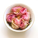 (Week-old roses in one of my favorite bowls.)