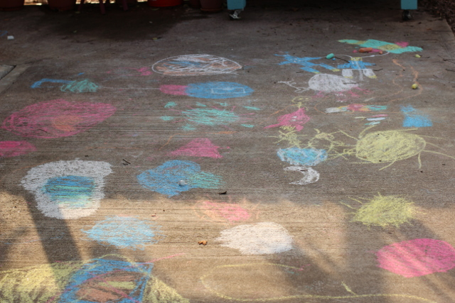 Walking with Cake: Chalk drawings