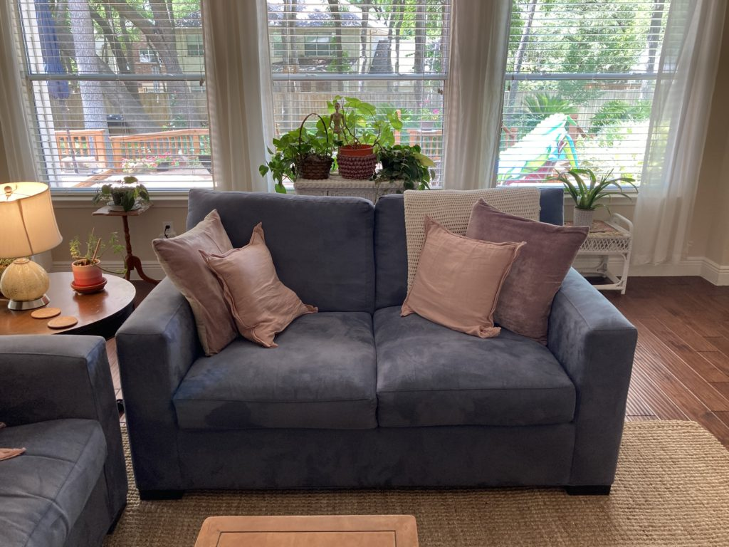 Walking with Cake: Crate & Barrel Axis II Loveseat, 2020