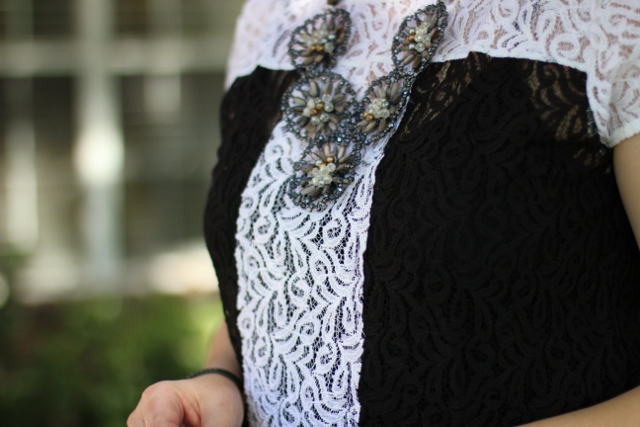 Walking with Cake: Detail of Weston Wear Lace Pane Top