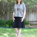 (Alternative Apparel's Perfect Organic Pima Boxy T-Shirt with Fair Indigo's A-Line Skirt.)