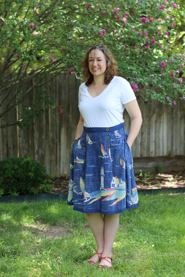 Walking with Cake: Thrifted-Sailboat-Skirt 2