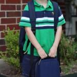 (Rhys' first day of school.)