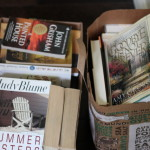 (Books for the donation truck.)